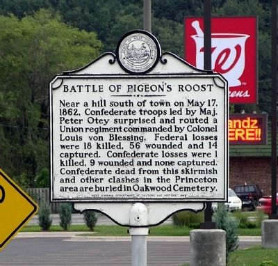 Battle of Pigeon's Roost Marker image. Click for full size.