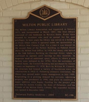 Milton Public Library Marker image. Click for full size.