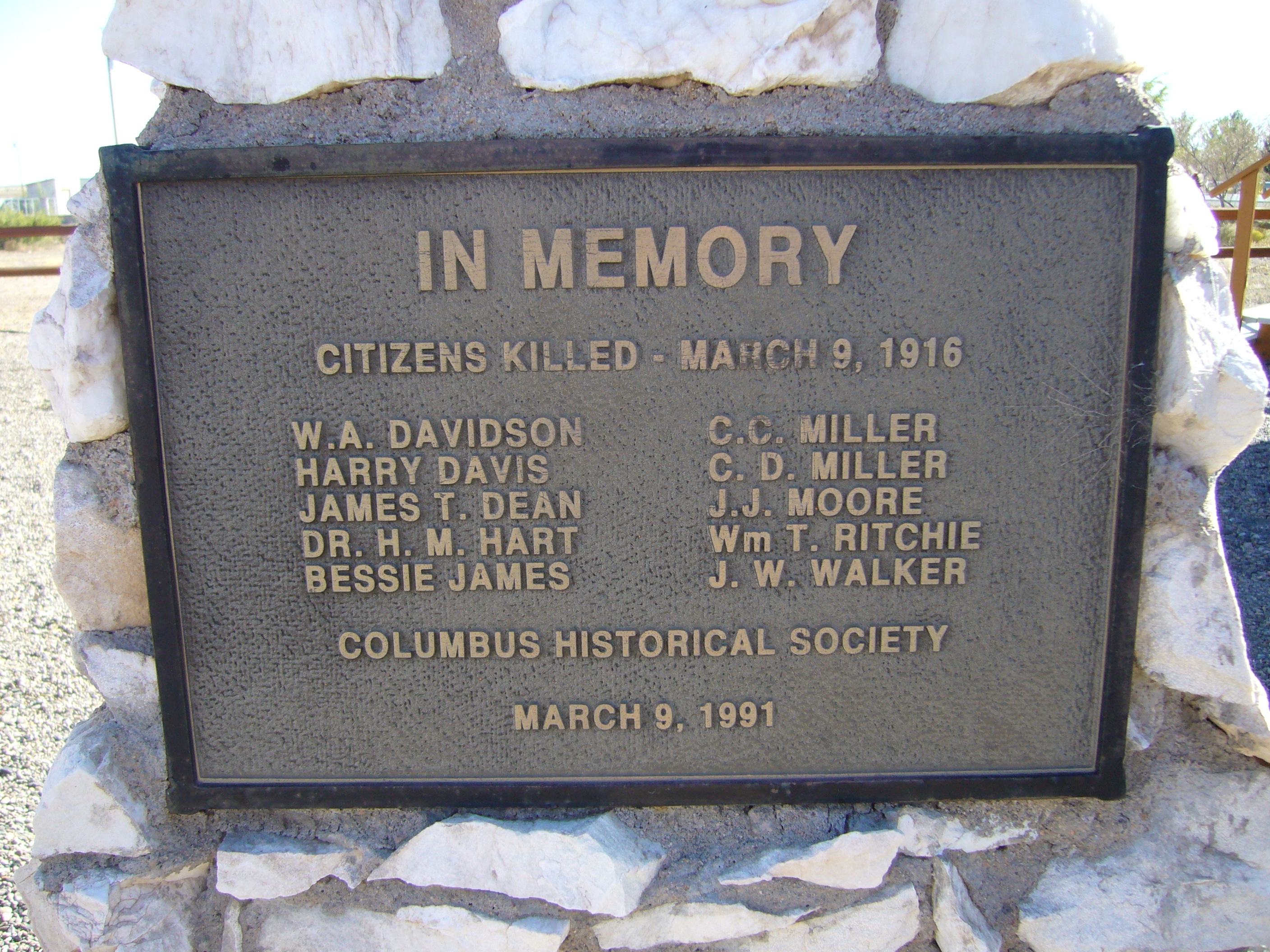 In Memory of Citizens Killed Marker - Side A