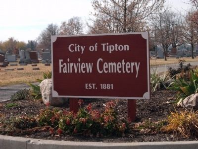 "Sign - - City of Tiipton - ""Fairview Cemetery"" - Est. 1881 image. Click for full size."
