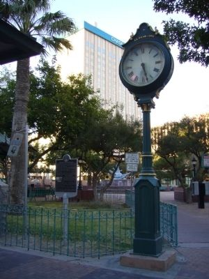Historic Sidewalk Clock and Marker image. Click for full size.