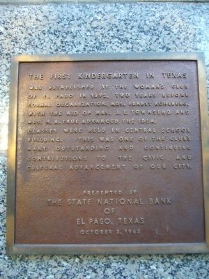 The First Kindergarten in Texas Marker image. Click for full size.