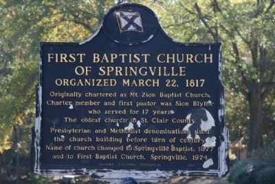 First Baptist Church Of Springville Marker image. Click for full size.