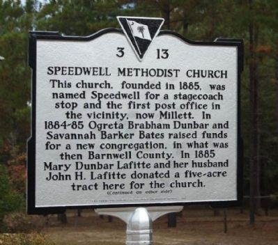 Speedwell Methodist Church Marker image. Click for full size.