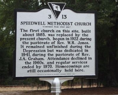 Speedwell Methodist Church Marker, reverse side image. Click for full size.