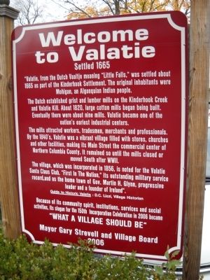 Welcome to Valatie Marker image. Click for full size.