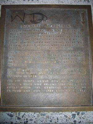 The Franklin Mountains Marker image. Click for full size.