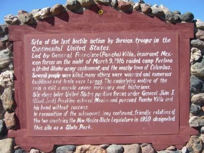 Site of the Last Hostile Action by Foreign Troops in the Continental United States. Marker image. Click for full size.