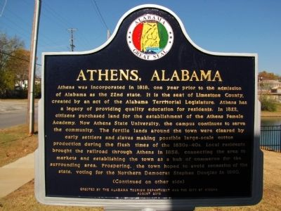 Athens, Alabama Marker image. Click for full size.