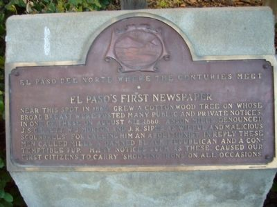 El Paso's First Newspaper Marker image. Click for full size.