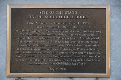 Site Of The Stand In The Schoolhouse Door (Top Marker) image. Click for full size.
