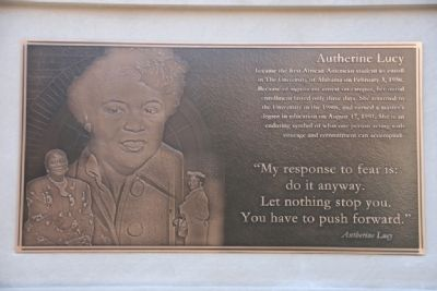Malone Hood Plaza Marker - North Face: Autherine Lucy image. Click for full size.