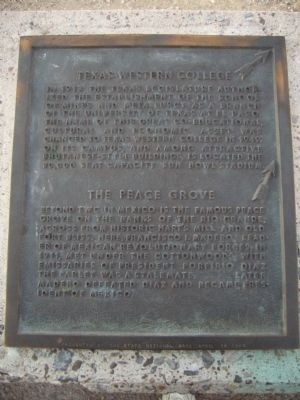 Texas Western College/ The Peace Grove Marker image. Click for full size.