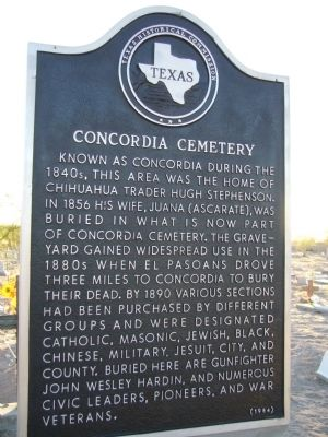Concordia Cemetery Marker image. Click for full size.