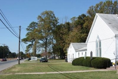 Harmony United Methodist Church Marker, looking west along John J. Williams Highway (State Route 24) image. Click for full size.