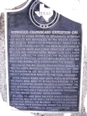 Rodriquez-Chamuscado Expedition - 1581 Marker image. Click for full size.