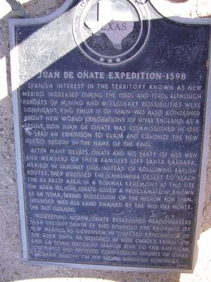 Juan de Onate Expedition 1598 Marker image. Click for full size.