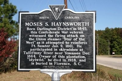 Moses S. Haynsworth Marker image. Click for full size.