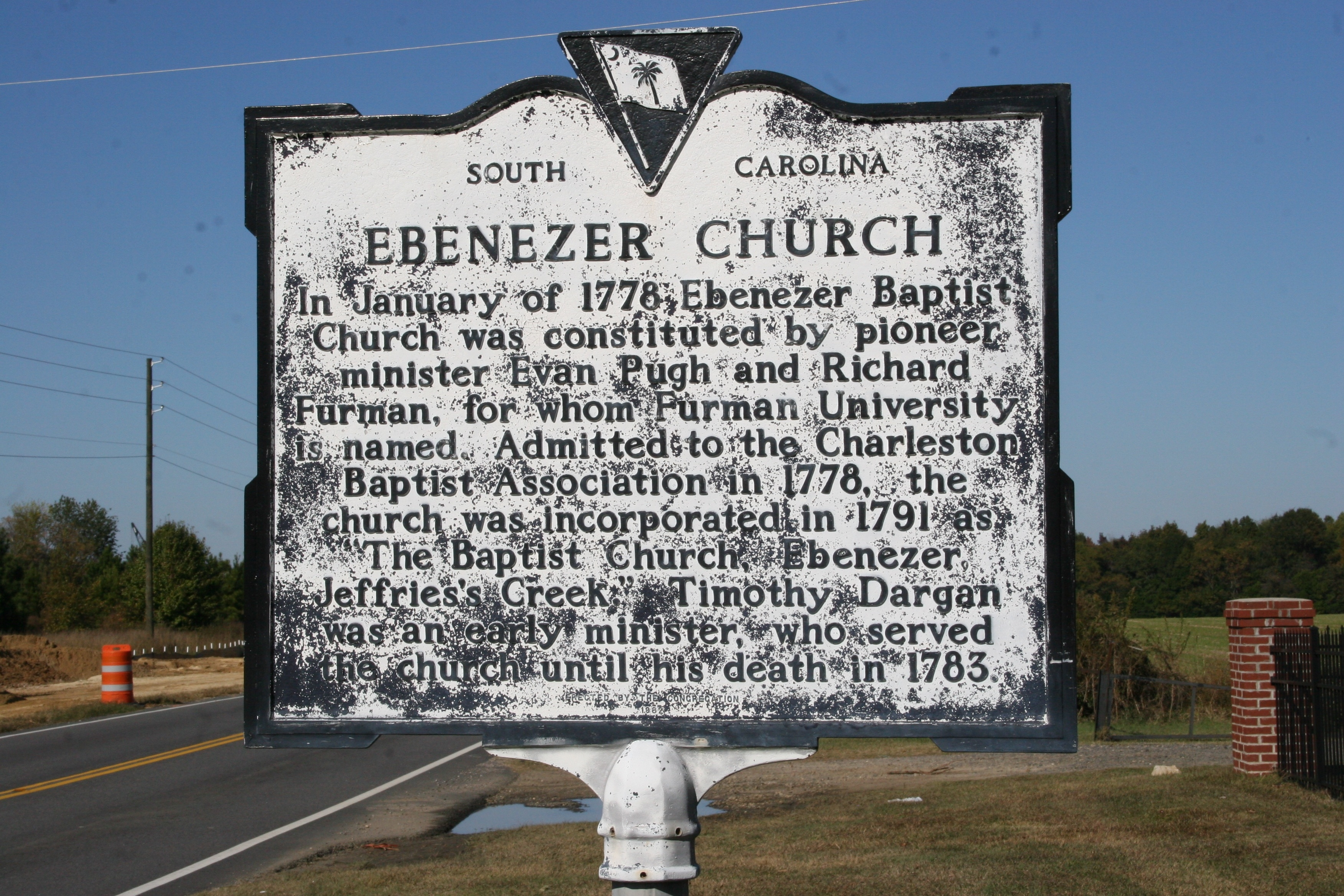 Ebenezer Church Marker - Side A