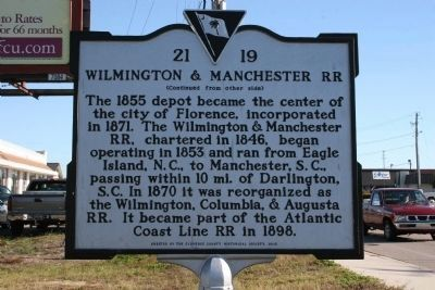 Wilmington & Manchester RR Marker image. Click for full size.