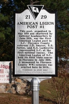 American Legion Post #1 Marker image. Click for full size.