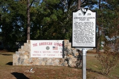 Marker & American Legion Post #1 Sign image. Click for full size.