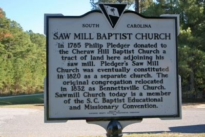 Saw Mill Baptist Church Marker image. Click for full size.