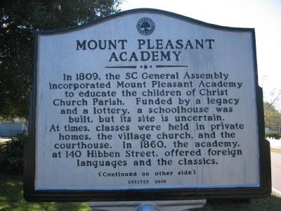 Mount Pleasant Academy Marker - Side A image. Click for full size.