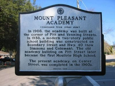 Mount Pleasant Academy Marker - Side B image. Click for full size.
