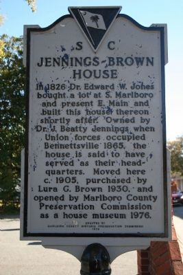 Jennings-Brown House Marker image. Click for full size.