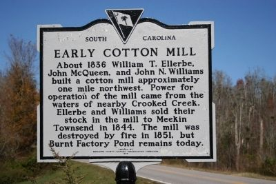 Early Cotton Mill Marker image. Click for full size.