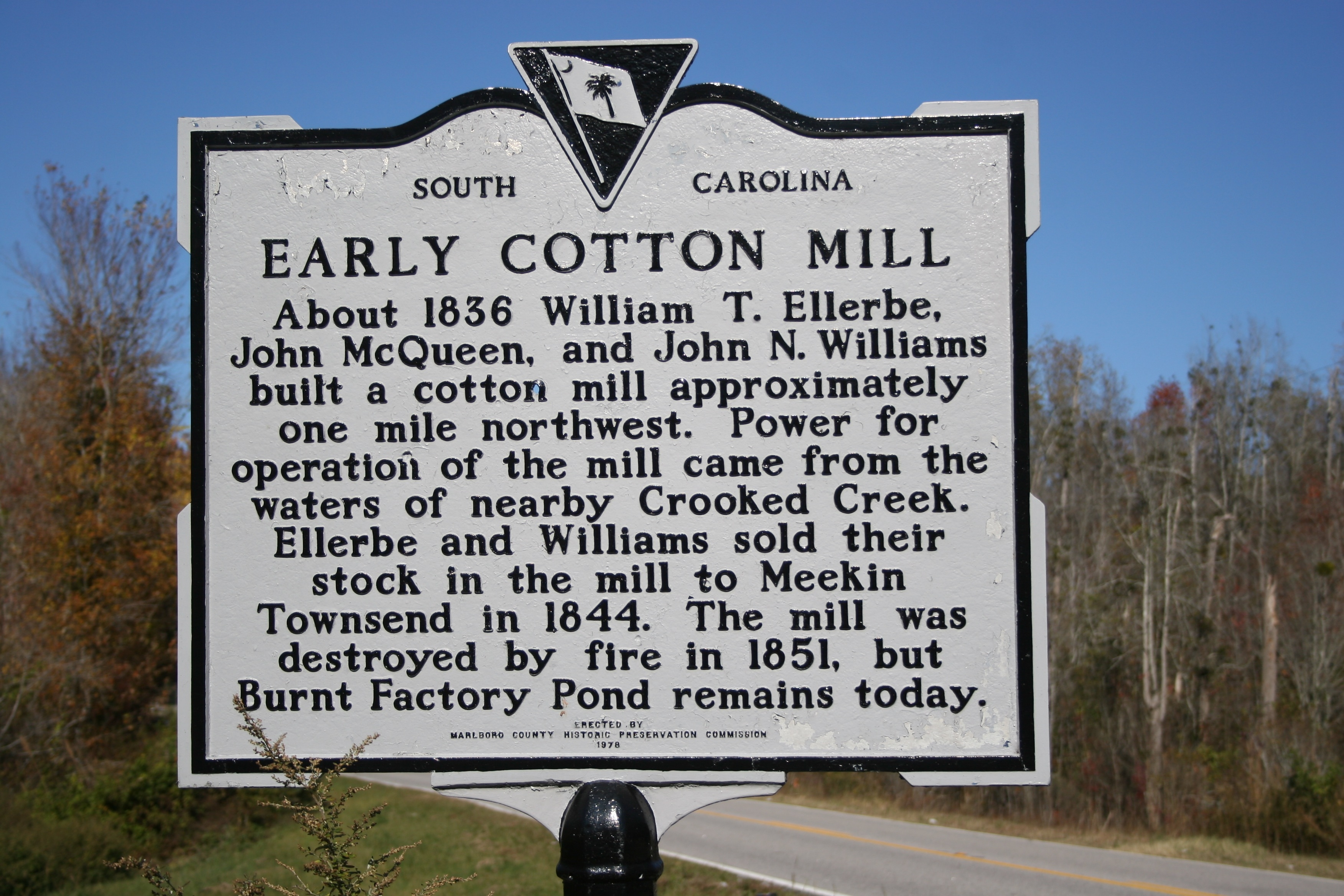 Early Cotton Mill Marker