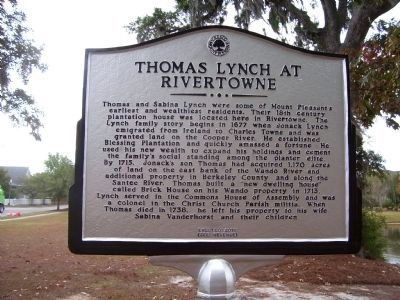 Thomas Lynch at Rivertowne Marker - Side A image. Click for full size.