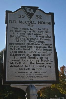 D.D. McColl House1826 Marker image. Click for full size.