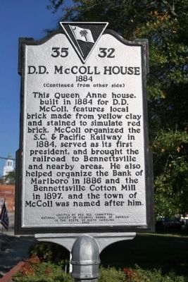 D.D. McColl House 1884 Marker image. Click for full size.