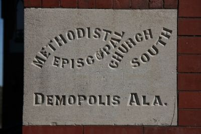 Demopolis Methodist Church Cornerstone image. Click for full size.