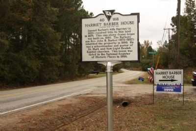 Harriet Barber House Marker, seen looking north along Lower Richland Blvd. image. Click for full size.