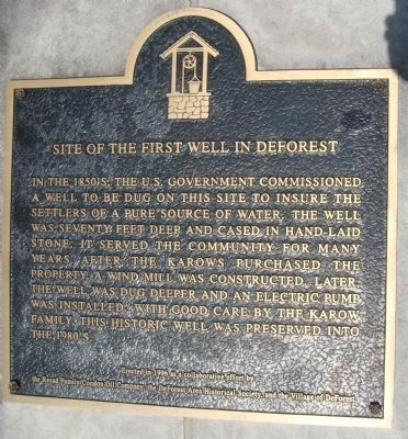 Site of the First Well in DeForest Marker image. Click for full size.