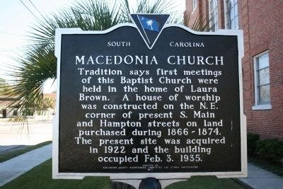 Macedonia Church Marker (front) image. Click for full size.