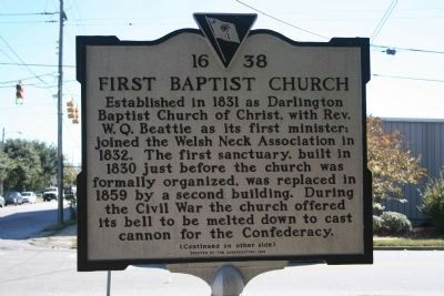 First Baptist Church Marker (Side A) image. Click for full size.