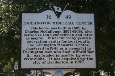 Darlington Memorial Center Marker image. Click for full size.