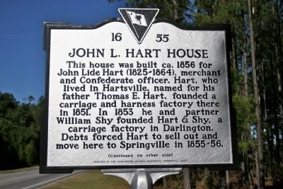 John L. Hart House (#2) Marker (front) image. Click for full size.