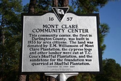 Mont Clare Community Center Marker (Side A) image. Click for full size.