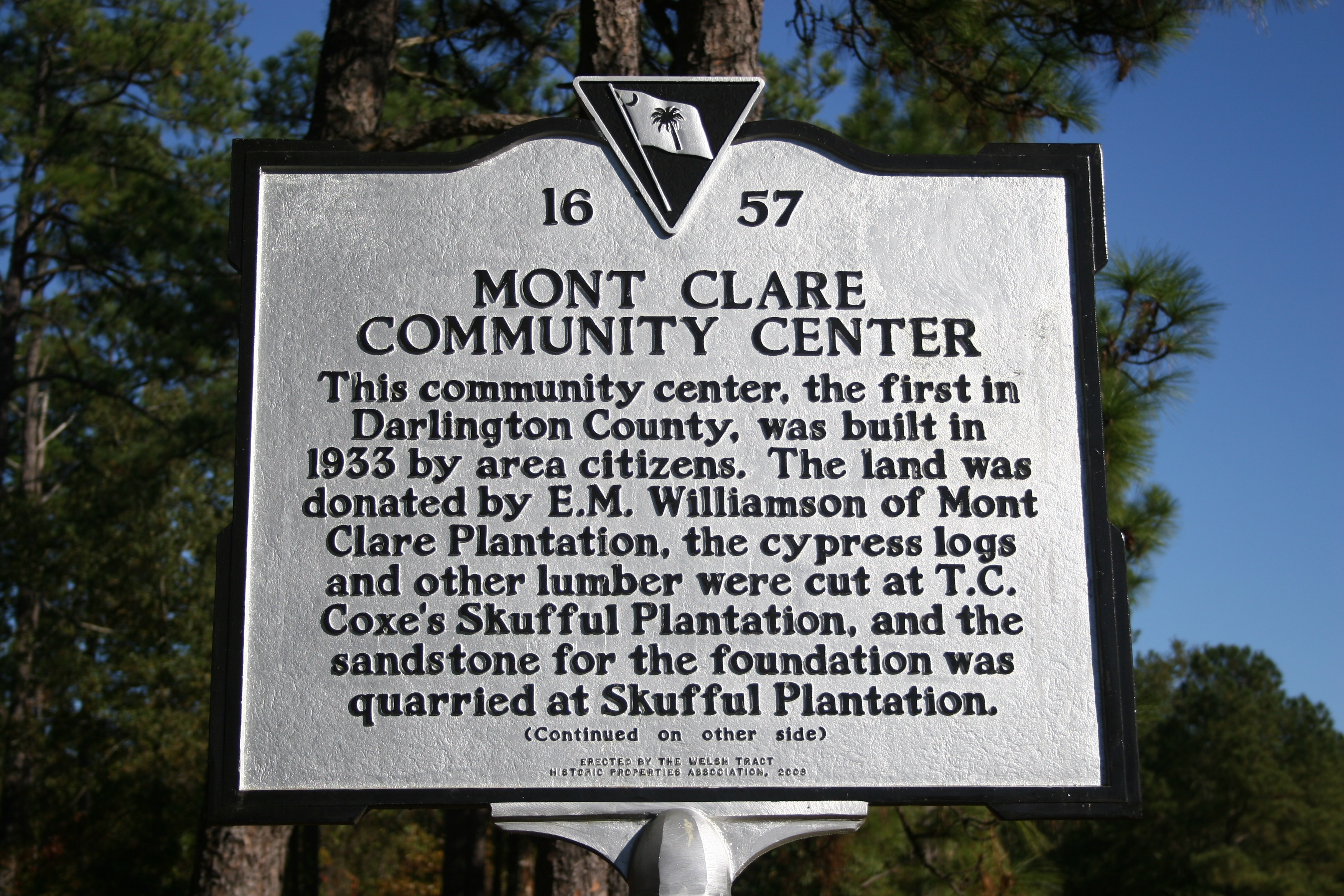 Mont Clare Community Center Marker (Side A)