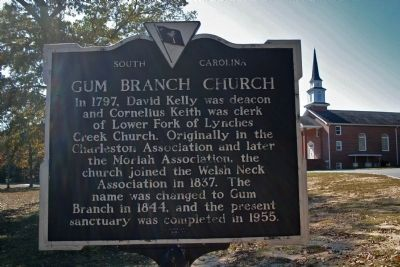 Gum Branch Church Marker image. Click for full size.
