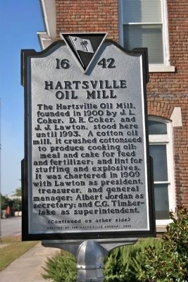 Hartsville Oil Mill Marker (Side A) image. Click for full size.