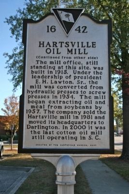 Hartsville Oil Mill Marker (Side B) image. Click for full size.