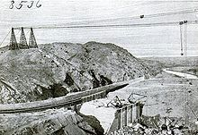 Elephant Butte Dam Under Construction image. Click for full size.