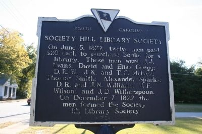Society Hill Library Society Marker (front) image. Click for full size.