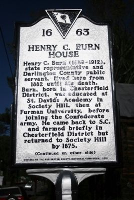 Henry C. Burn House Marker (front) image. Click for full size.